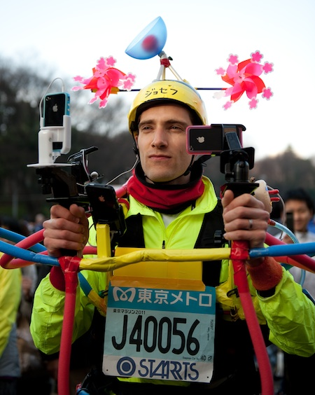 Joseph prepares to run and live-stream the Tokyo Maraton